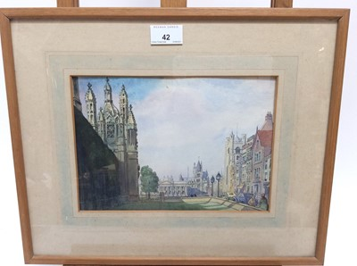 Lot 42 - Mid 20th century English School ink and watercolour - a city view, apparently unsigned, 18cm x 25cm, in glazed frame