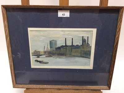 Lot 43 - M. Fowell, mid 20th century watercolour and gouache - Battersea Power Station, signed, 14cm x 22cm, in glazed frame