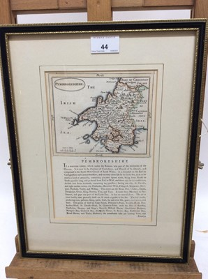 Lot 44 - 18th century hand coloured engraved map of Pembrokeshire, 23cm x 16cm, in glazed frame
