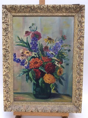 Lot 46 - 1930s/40s oil on board - still life of summer flowers, indistinctly signed, 48cm x 33cm, in painted frame