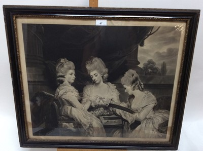 Lot 47 - After Reynolds, black and white engraving - The Ladies Waldegrave, 50cm x 60cm, in glazed gilt and ebonised frame