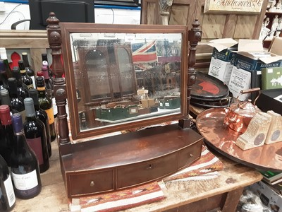 Lot 870 - Regency mahogany bowfront toilet mirror, with three drawers to the platform base, 55cm wide