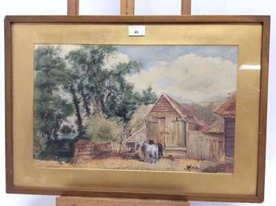 Lot 49 - A. S. Oswin, late Victorian watercolour - rural farmstead, 30cm x 47cm, together with another view of a country cottage, 17cm x 25cm and a third watercolour (3)