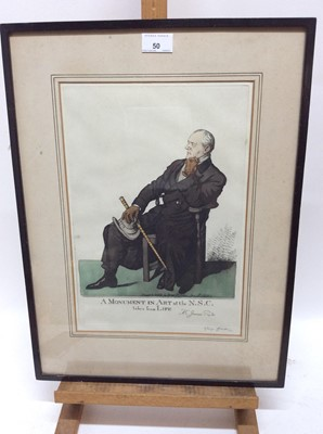 Lot 50 - George Belcher (1875-1947) signed coloured etching - 'A Monument In Art at the N.S.C. Taken from Life Mr James Pryde', published January 9th 1918, 35cm x 25cm, in glazed frame