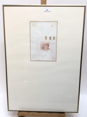Lot 52 - Trio of 1980s English School pencil and watercolours - Abstracts, indistinctly initialled and dated '89, 23cm x 16cm, overall size 65cm x 45cm, in glazed frames