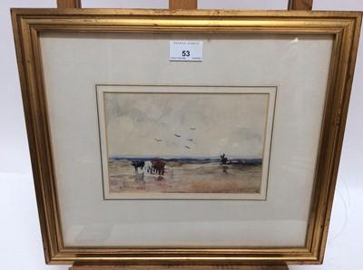 Lot 53 - Reginald Grenville Eves (1876-1941) watercolour - Landscape, signed and dated 1892, 13.5cm x 20cm, in glazed gilt frame