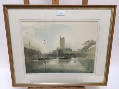 Lot 54 - Paul Stafford (b.1957) four watercolours - Canterbury in the Rain, November Elms, Great Braxted and Greenleaves, each signed and titled verso, in glazed frames