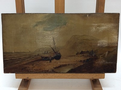 Lot 55 - Victorian Naive School oil on canvas - Yorkshire Coast, inscribed verso, 20cm x 38cm, unframed