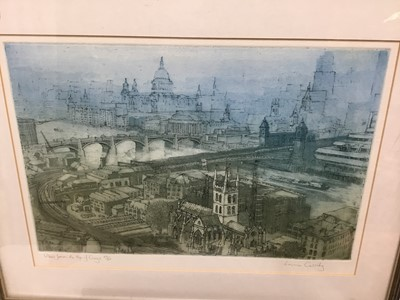 Lot 75 - Lorna Cassidy (Contemporary) colour etching, View from the top of Guys, signed inscribed and numbered 39/50, 26 x 38cm, glazed frame
