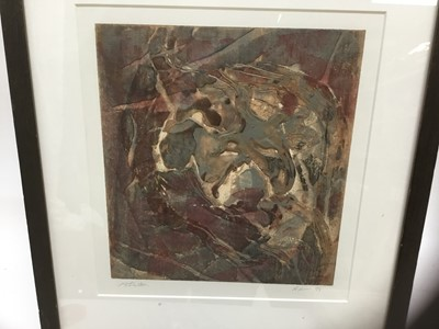 Lot 76 - Contemporary school, mixed media on paper, indistinctly signed, imsge 26 x 24cm, glazed frame