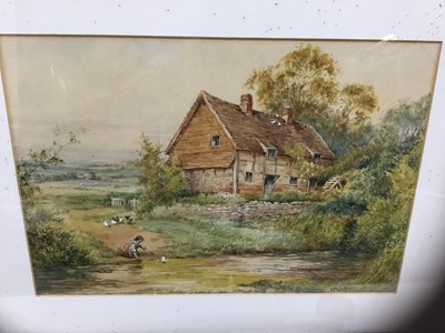 Lot 87 - Henry Sylvester Stannard (1870-1951) watercolour- Cottage scene with figure and fowl, 25 x 35cm, signed, glazed frame