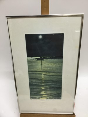 Lot 88 - Elizabeth Morris (Contemporary) etching and aquatint, The reflected moons, signed numbered and inscribed, 33 x 16cm, glazed frame