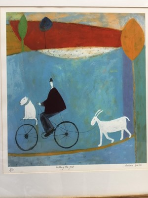 Lot 120 - Annara Spence (b. 1963) lithograph, Walking the goat, signed and numbered 6/250, 45 x 42cm, glazed frame
