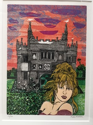 Lot 122 - Rigby Graham (1931-2015) linocut in colours, figure before a church, signed and numbered 23/40, image 53 x 39cm, glazed frame