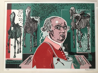 Lot 123 - Rigby Graham (1931-2015) linocut in colours 'George and the bluebottles', signed and numbered 33/60