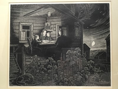 Lot 124 - Vladimir Emilianov (Contemporary) very large linocut print, signed and dated 1985, Domestic scene, image 55 x 67cm, glazed frame