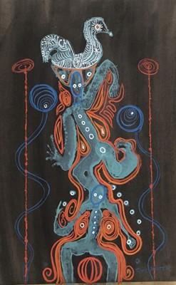 Lot 125 - Joyce Pallot (1912-2004) gouache on paper, totem, signed, 51 x 38cm