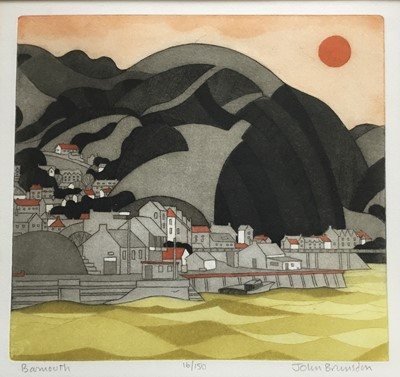 Lot 126 - John Brunsdon (1933-2014) colour aquatint - Barmouth, signed and titled, 16/150, plate 28 x 30cm, glazed frame