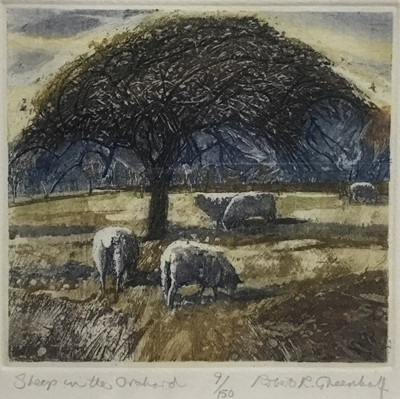Lot 129 - Robert Greenhalf (b. 1950) colour aquatint, Sheep in the orchard, signed and numbered 9/150, plate 14 x 16cm, glazed frame