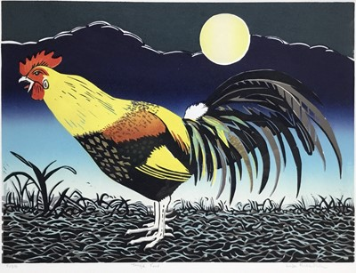 Lot 132 - Linda Richardson (Contemporary), linocut in colours, Cockerel, signed and numbered 5/35, 30 x 40cm, glazed frame