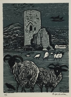 Lot 133 - Rigby Graham (1931-2015) colour linocut, sheep before a tower, signed and numbered h/c, 29 x 22cm, glazed frame