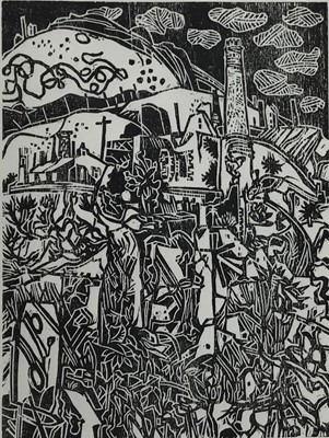 Lot 135 - Rigby Graham (1931-2015) woodcut print, industrial landscape, signed with initials, inscribed verso 'one of Rigby Graham's last woodcuts, cut by him whilst in bed! , image 30 x 22cm, glazed frame