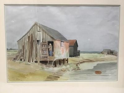 Lot 136 - Tim Holding (b. 1940) watercolour, Fisherman's Hut, Walberswick, signed 39 x 53cm, glazed frame