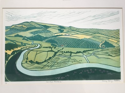 Lot 137 - Penny Berry Patterson (1941-2021) colour linocut, 'Downland Panorama' signed and numbered 1/30, image 31 x 52cm, glazed frame