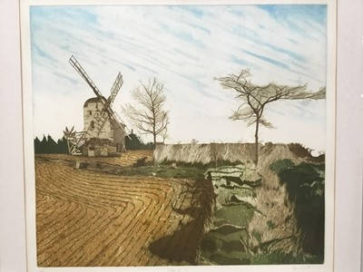 Lot 152 - Alan Kennedy (Contemporary) etching in colours, Gedding Post Mill, signed inscribed as titled and numbered 23/95: 45 x 50cm, glazed frame