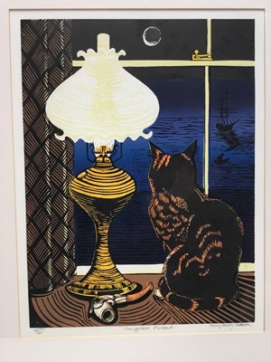 Lot 138 - Penny Berry Patterson (1941-2021) colour linocut, Smuggler's Friend, signed titled and numbered 14/40, 41 x 31cm, glazed frame