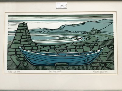 Lot 153 - Nicholas Barnham (b. 1939) linocut in colours, Westing Unst, signed and numbered 46/50 A/P, 20 x 36cm, glazed frame