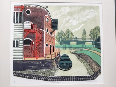 Lot 139 - Penny Berry Patterson (1941-2021) colour lino print, Sudbury Quay, signed and numbered 8/30, 39 x 44cm, glazed frame
