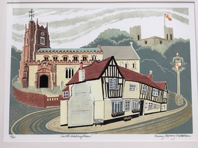 Lot 141 - Penny Berry Patterson (1941-2021) colour linocut, Castle Hedingham, signed titled and numbered 10/20: imsge 29 x 41cm, glazed frame