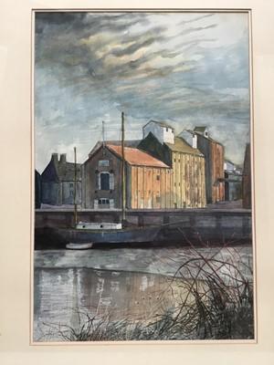 Lot 154 - Philip Hawksley (20th century) watercolour, quayside scene, 59 x 38cm, glazed frame