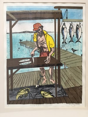 Lot 143 - Penny Berry Paterson (1941-2021) monoprint - Sharing the spoils, South Padre Island, signed titled and numbered 1/1, image 53 x 40cm