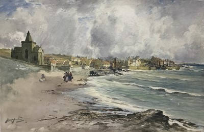Lot 156 - Thomas Swift Hutton (c. 1860-1935) watercolour on board - St Monans, Fife Coast, signed, titled to label verso, 39 x 56cm