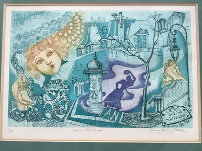 Lot 144 - Penny Berry Paterson (1941-2021) colour etching 'Paris Melange', signed titled, numbered 6/50, 21 x 33cm, glazed frame