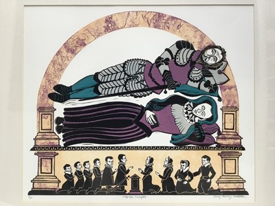 Lot 145 - Penny Berry Paterson (1941-2021), colour linocut, Sleepless Knight, signed titled and numbered 5/30, image 36 x 49cm, glazed frame