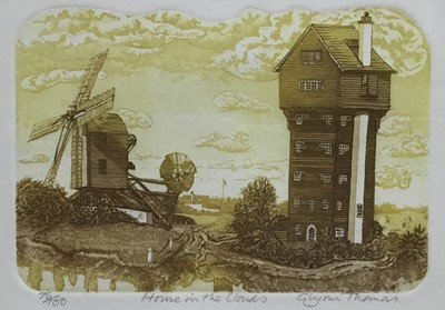 Lot 157 - Glyn Thomas (b. 1946) two etchings, House in the Clouds, St Mary's Maldon, both signed and titled, image 11 x 16cm, glazed frame