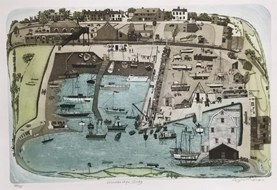 Lot 158 - Glyn Thomas (b. 1946) etching in colours, Woodbridge Quay, signed and numbered 59/75, 26 x 39cm