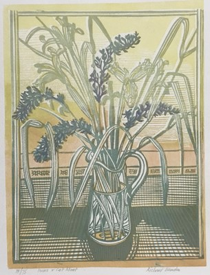 Lot 159 - Richard Bawden (b. 1936) colour print, Irises and Cat Mint, signed, titled and numbered 14/75, image 34 x 24cm