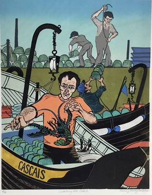 Lot 147 - Penny Berry Paterson (1941-2021) colour linocut - Catching the catch, signed titled and numbered 4/30, 42 x 33cm