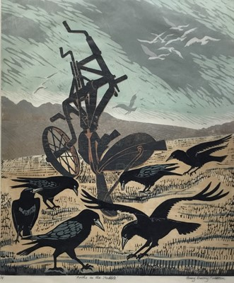 Lot 148 - Penny Berry Paterson (1941-2021) colour woodcut print, Rooks in the stubble, signed and numbered 3/7, 60 x 49cm