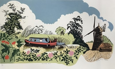 Lot 149 - Penny Berry Paterson (1941-2021) colour woodcut print, Barnack Mill, signed titled and numbered 17/20, image 28 x 66cm