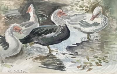 Lot 160 - Peter E Clarke (Contemporary) watercolour, Kersey water splash, signed,  33 x 54cm, glazed frame