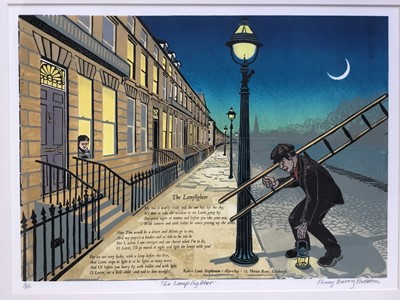 Lot 118 - Penny Berry Paterson (1941-2021) colour linocut, The lamplighter, signed titled and numbered 2/12, image 31 x 43cm, glazed frame