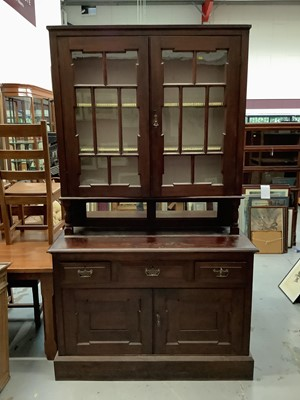 Lot 856 - Edwardian stained two height dresser with glazed doors