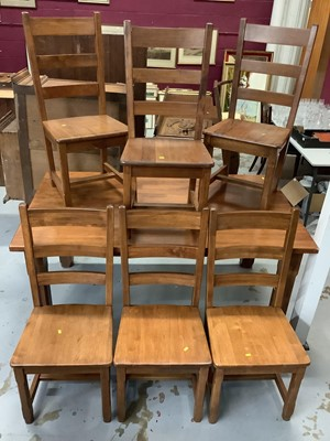 Lot 855 - Contempory Hardwood rectangular dining table and matching set six ladder back dining chairs