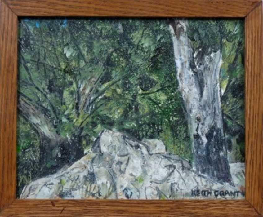 Lot 1718 - *Keith Grant (b.1930) oil on canvas - Entrance to a Dry Grove, signed, framed, 21cm x 26cm  Provenance:  Chris Beetles Ltd, London