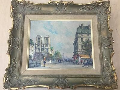 Lot 36 - Julien Brosius (1917-2004) - oil on canvas in gilt frame - Notre Dame, Paris. Image size 18cm x 23.5cm, overall size including frame 33cm x 37cm